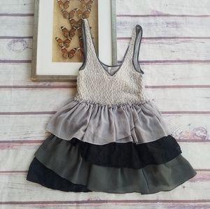 Free People Gray Ruffle Deep V Mini Dress L